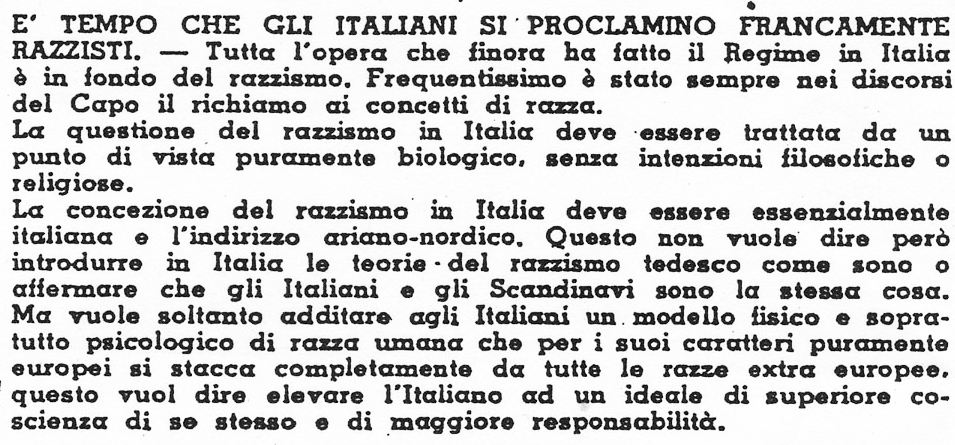 """Punto 7 del """"Manifesto del Razzismo Italiano"""" (1938)"""